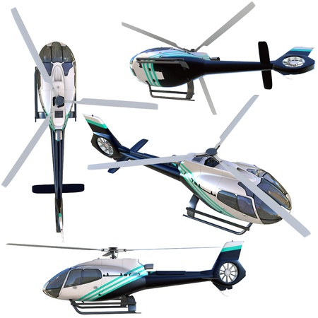 helicopter rescue: 3d helicopter collection isolated on white