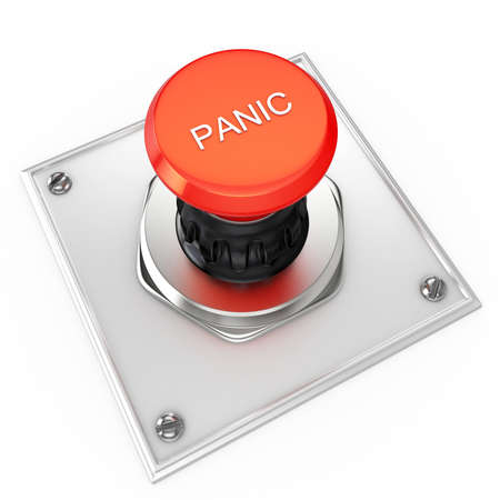 3d red panic button isolated on white photo