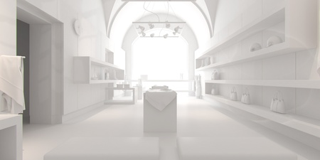 3d interior design blank shop with white furniture Stock Photo - 9357569