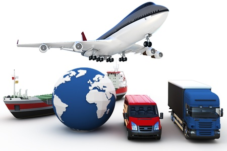 concepto de transporte de carga global 3D aislado en blanco