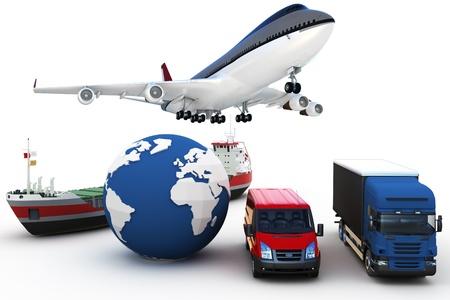 transport: global Cargo Transport 3D-Konzept isoliert auf weiss