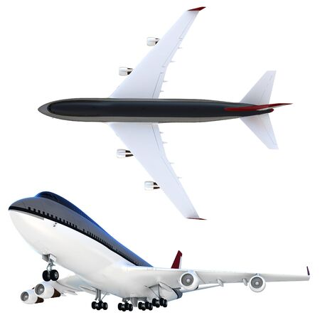 3d passanger collection plane isolated on white background photo