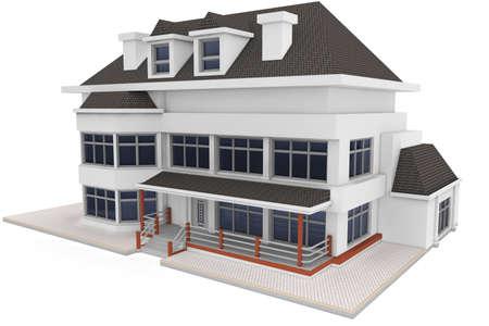 3D Haus isoliert auf weiss gerendert generic Standard-Bild