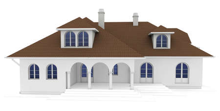 housing project: 3d house isolated on white rendered generic