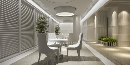 3d interior design blank lounge with white furniture photo