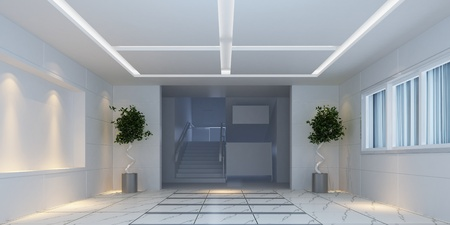 3d interior design hallway with plants photo