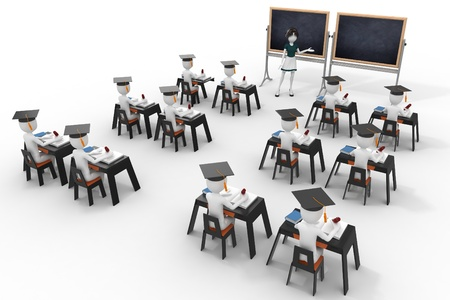 young teacher: 3d classroom with teacher and pupils isolated on white