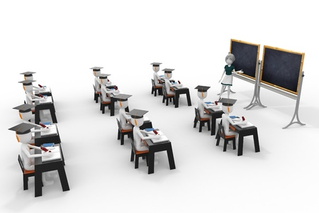 3d classroom with teacher and pupils isolated on white Stock Photo - 9447809