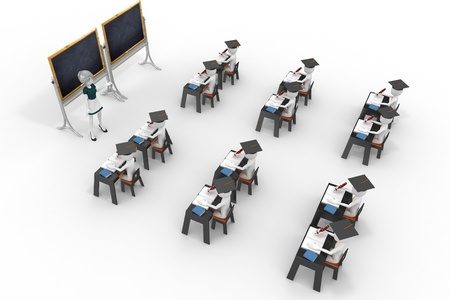 classroom chalkboard: 3d classroom with teacher and pupils isolated on white