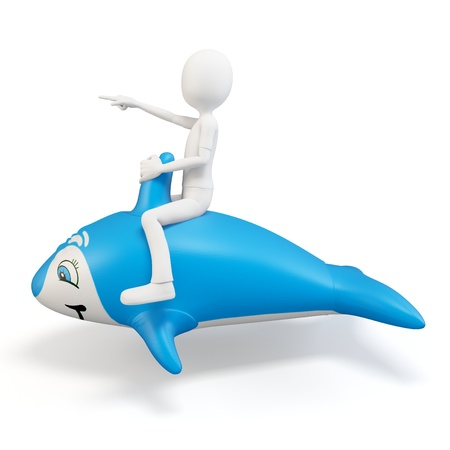 mamal: 3d man riding a blue dolphin isolated on white