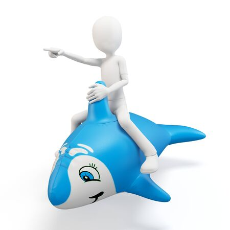 3d man riding a blue dolphin isolated on white photo