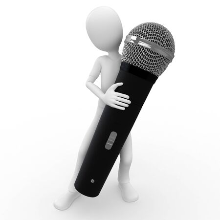 journalist: 3d man with wireless microphone isolated on white Stock Photo