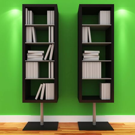 3d shelves with blank books isolated on white Stock Photo - 9447821