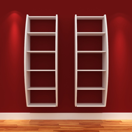 3d Empty shelves for exhibit isolated on white Stock Photo - 9447819