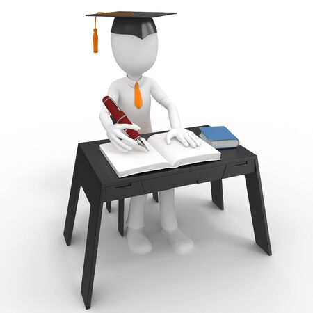 3d man student taking a test isolated on white Stock Photo - 9447810