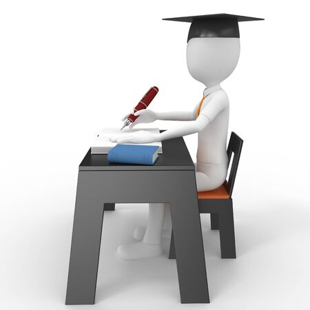 3d man student taking a test isolated on white Stock Photo - 9447812