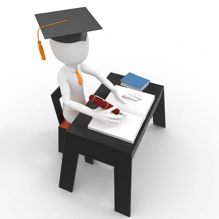 3d man student taking a test isolated on white Stock Photo - 9447816