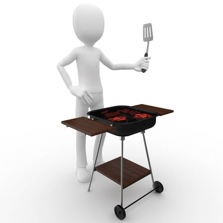 3d man with barbeque isolated on white photo