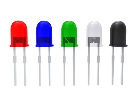 component: 3d color assembly of LEDs isolated on white Stock Photo