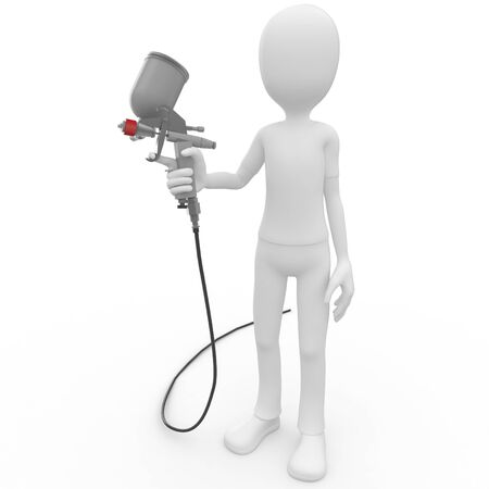 spray paint: 3d man with paint gun isolated on white