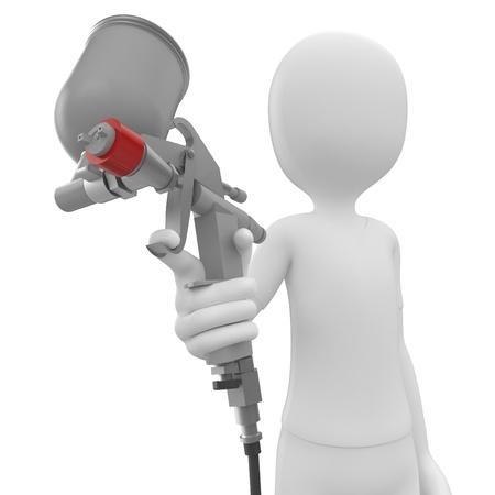 pulverizador: hombre 3D con pistola de pintura aislado en blanco