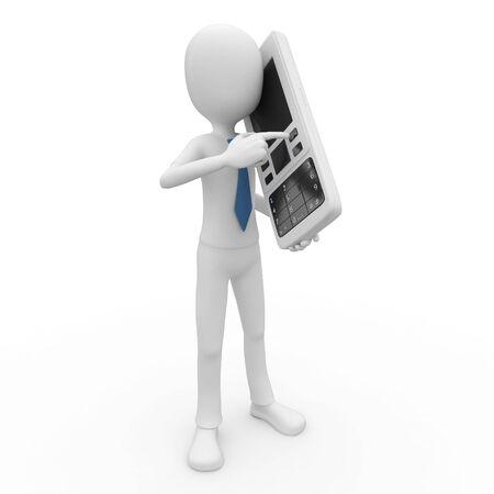 telefono caricatura: hombre 3D con tel�fono m�vil aislado en blanco