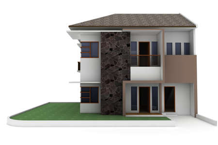 open floor plan: 3d house isolated on white rendered generic