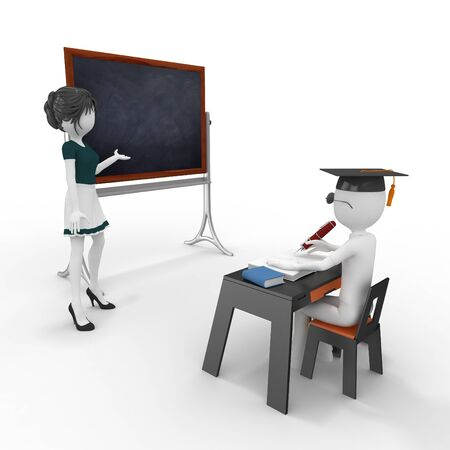 teacher at desk: 3d classroom with teacher and pupil isolated on white Stock Photo