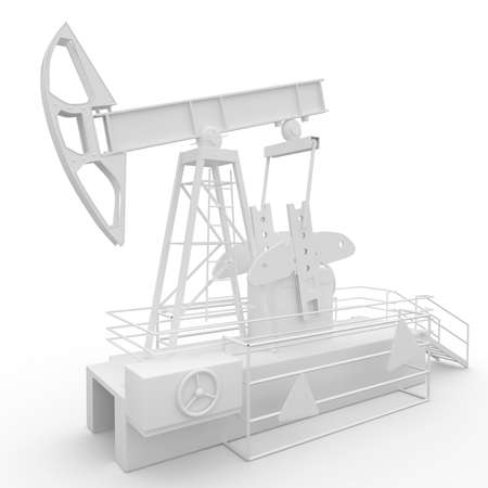 3d generic oil pump-jack isolated on white Stock Photo - 9552835