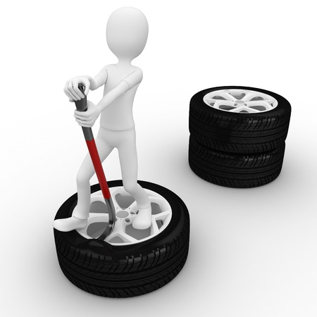 mechanic cartoon: 3d man fixing a tire isolated on white Stock Photo