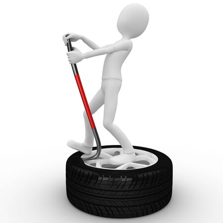 3d man fixing a tire isolated on white Stock Photo - 9552810