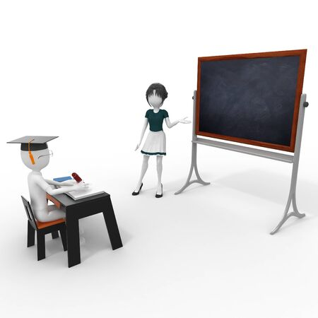 best schools: 3d classroom with teacher and pupil isolated on white Stock Photo