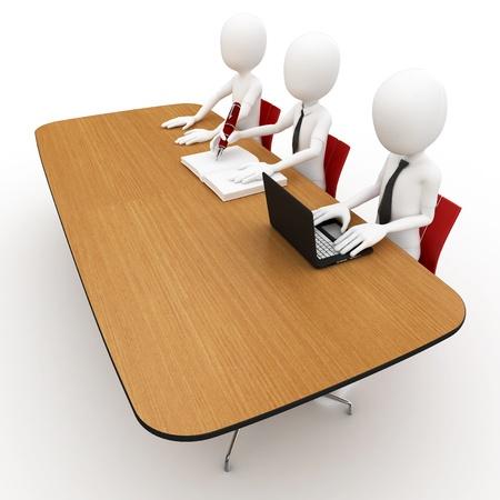 jurado: hombre 3D a la mesa de jurado del concurso aislado en blanco