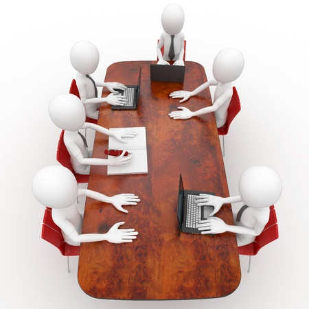 lideres: reuni�n de equipo de hombre 3D en la sala de conferencias