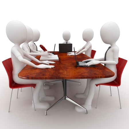 round chairs: 3d man team meeting in conference room