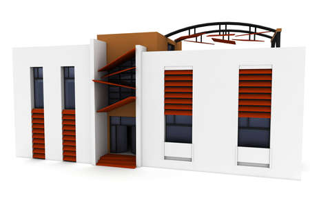 housing plan: 3d house isolated on white rendered generic