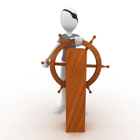 3d man sailor pirate at the wheel isolated on white photo