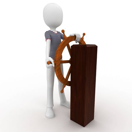 3d man sailor at the wheel isolated on white photo