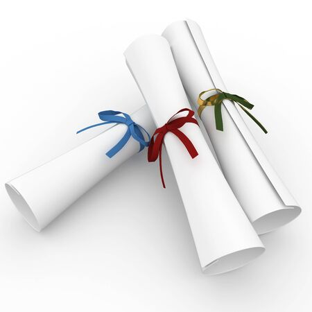 3d scrolls with colored ribbon isolated on white photo