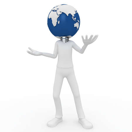 3d man with globe isolated on white Stock Photo - 9676790