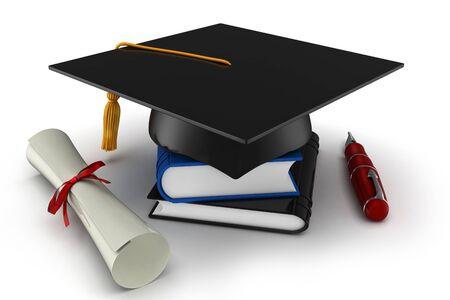 3d school graduation  isolated on white photo