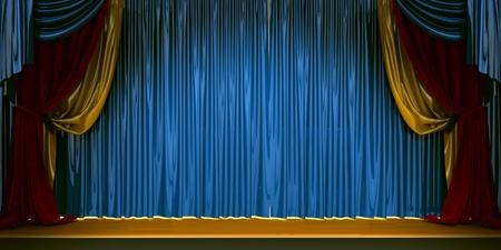 3D Theaterszene set mit rotem Samtvorhänge