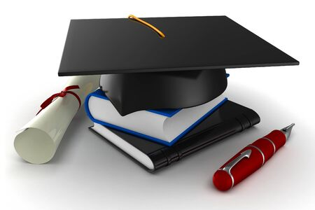 3d school graduation  isolated on white photo