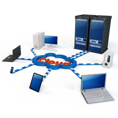 computer network: 3d Cloud computing concept. Client computers communicating with resources located in the cloud