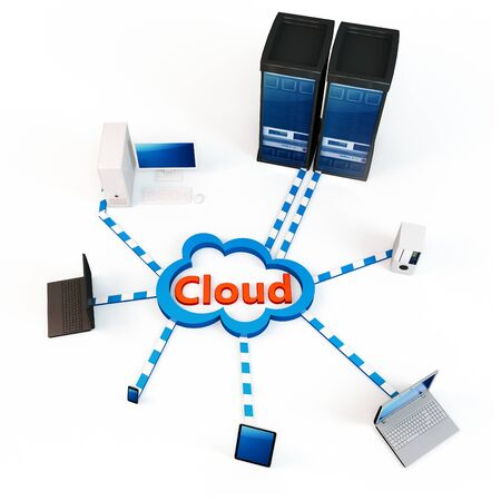 """3d Cloud computing concept. Client computers communicating with resources located in the """"cloud"""""""
