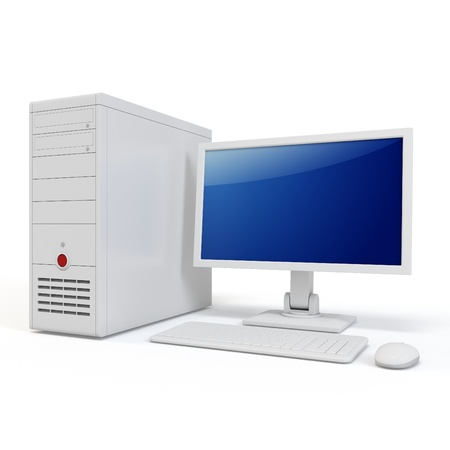 office desktop: 3d computer generic desktop isolated on white background Stock Photo