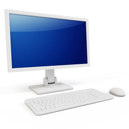 pc case: 3d computer terminal generic  isolated on white background Stock Photo