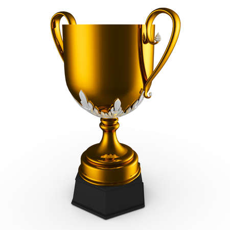 3d gold cup trophy isolated on white photo