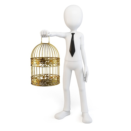 3d man with golden bird cage isolated on white photo