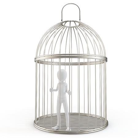 prison cell: 3d man prisoner in a silver bird cage isolated on white
